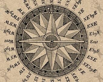 Antique image Compass Instant Download picture  printable Vintage clipart digital graphic scrapbooking, burlap, stickers, decor HQ 300dpi