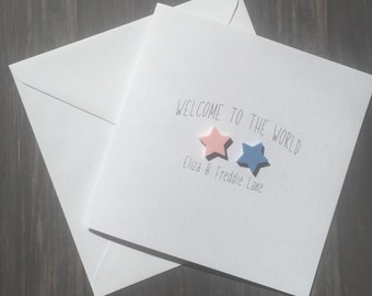 New Baby Twins Personalised Card Welcome To The World Mixed Twins Boy Girl Twins