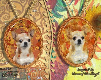 Chihuahua Smooth Coated Jewelry Pendant - Brooch Handcrafted Porcelain by Nobility Dogs - Gustav Klimt and Van Gogh