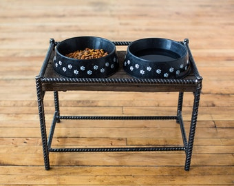 Elevated Metal and Reclaimed Barn wood Dog Dish Stand