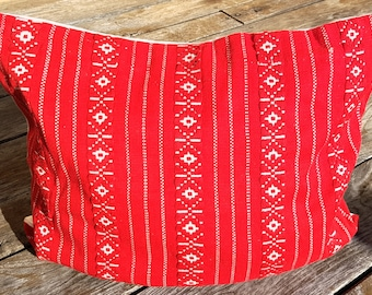 Vintage Red Woven Pillow Cover, decor pillow, Throw Pillow, Traditional Hand Made Natural Red Hand Woven Pillow Case