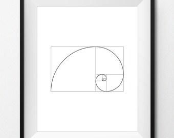 Digital Print Art - FIBONACCI SPIRAL - Black - Geometric art, sacred geometry, golden ratio, digital printable - Instant Download