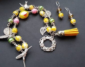 Yellow Bracelet & Earrings, Silver Plated Metals, Green Beads, Rose Beads