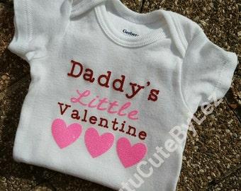Daddy's Little Valentine Glitter Valentine's Day Shirt