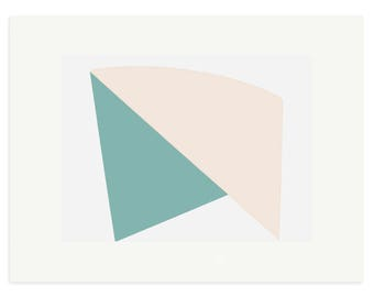 Large modern abstract and minimal colorblock screenprint in pink and turquoise by Emma Lawrenson