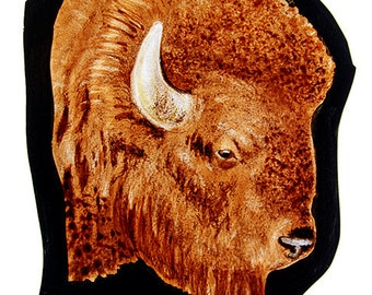 Bison stained glass fragment, kilnfired, glass painting, bison motif, bison, bison suncatcher, bison glass fragment, бизон, nice glass idea