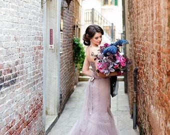 Purple  wedding dress tulle dress tulle purple evening dress tulle gown blush prom dress sweetheart dress tulle skirt