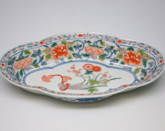 Chinese Porcelain Dish with Painted Chrysanthemums