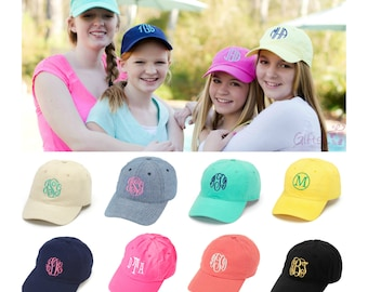Monogrammed Girls Hat Personalized Girls Cap Personalized Kids Hats Baseball Cap Monogrammed Hat Monogram Hat Pink Mint Coral White Navy