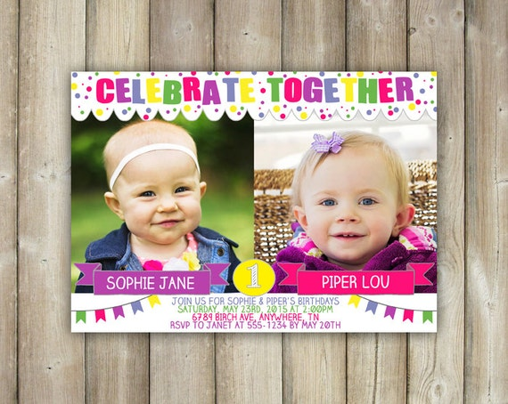 Joint Birthday Invitation Double Birthday Party Invite Twins