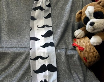 Plastic Bag Holder Sock, Mustaches on Gray Stripes Print