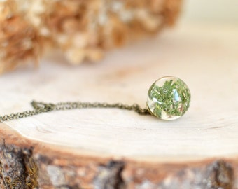 Moss necklace resin jewelry - nature inspired necklace nature necklace, gift under 40, Terrarium Necklace