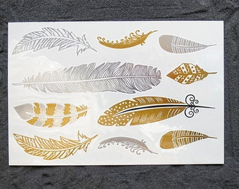 FEATHER Gold & Silver Flash Fake Tattoos, Birds Temporary Tattoos, Body Shimmer Jewels weddings and beach parties, FLASH temporary TATTOOS