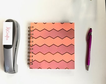 """Personalizable Handmade 200 page Address Book 6""""x6"""" Orange and Pink"""