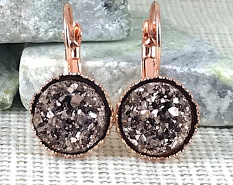 Bridesmaid Gift - Rose Gold Druzy Earrings - Leverback Earrings - Bridesmaid Earrings - Wedding Jewelry - Rose Gold - Earrings - Jewelry -