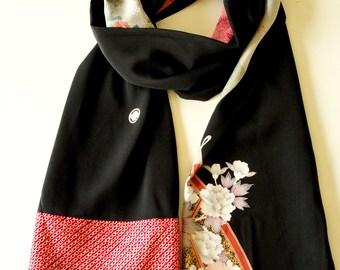Japanese silk kimono scarf | 148 | Hand made from vintage kimono fabrics