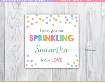 baby sprinkle favor tags, baby sprinkle baby shower, baby sprinkle decor, baby sprinkle printable, girl baby shower gift tags, thank you tag