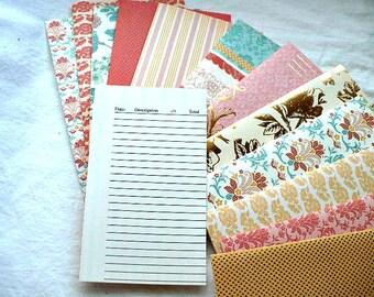 Cash Envelopes, Minimalist Wallet, Coupon Organizer, Envelope System, Assorted Patterns, Set of 12 Bill Tracker Log,  7 Inch, Hand Stitched