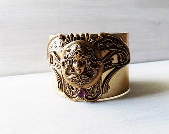 Art Nouveau bracelet, Cuff Bracelet, plus sized bracelet, art nouveau jewelry, larger cuff, unique gift, wide wrist cuff, ornate bracelet