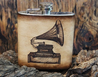 6oz Stainless Steel & Leather Hip Flask [Free Personalization] [Multicolor] [Gramaphone]