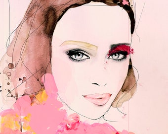 Climate - Fashion Illustration Beauty Art Print, Portrait, Mixed Media Painting by Leigh Viner