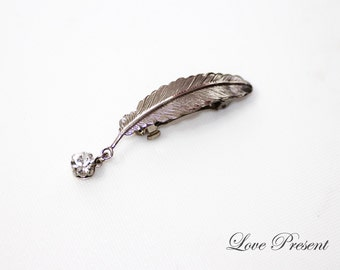 Sliver Feather barrette with Swarovski Crystal - Simple Modern Hair Jewelry - Choose your color
