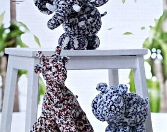 Toy Knitting Pattern K9062 3 Stuffed Soft Toys Giraffe Hippo and Elephant Knitting Pattern Chunky (Bulky) King Cole