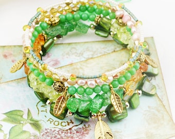 Forest Dew 5 tiers bangle (MW revised version) - dyed quartzite, and freshwater pearls