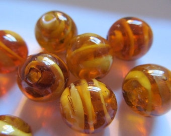 Vintage Glass Beads (6) Handmade Japanese Amber Cream Swirl Beads