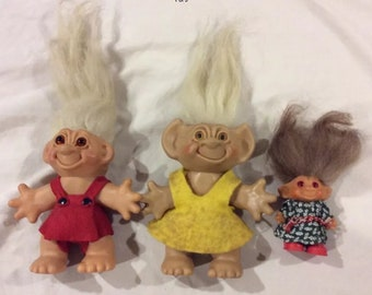 Vintage Trolls - Thomas Dam, Wish Nik, Uneeda Lot of 3