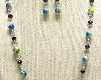 32 inch Speckled Glass Bead Necklace Set #19202 - On Sale!