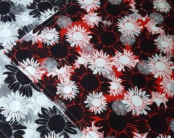 Floral Placemats - Reversible Placemats - Set of 2 - Black and White Placemats - Red and White Placemats - Heat Resistant