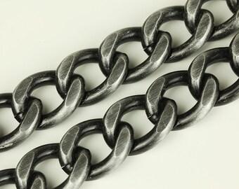 3ft Gunmetal Chain, Chunky Chain, Twisted Curb Chain, Aluminum Chain, 20x25mm, CB002.GU