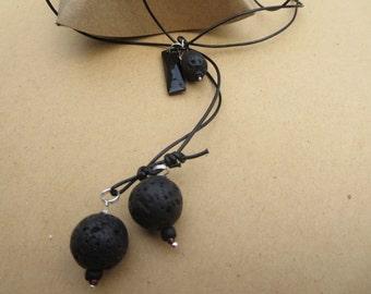 Jet Stone Lariat Necklace, Gemstone Y Necklace, Lava Bead Lariat, Lava  Y Necklace, Handmade Lariat, Edinburgh Jewellery Designer, K Brown