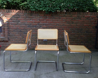 3 Vintage 1980's Mid Century Modern STYLE Marcel Breuer Cesca Cantilever CHAiR -ONE piece Tubular Chrome Cane VERY NiCE You get all 3 chairs