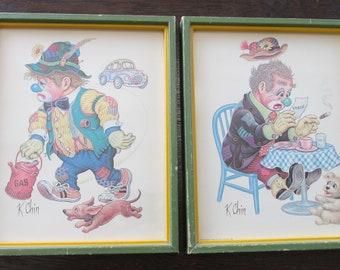 Set of 2 1974 Vintage Framed K Chin Litho Lithograph Prints Sad Hobo Clown Donald Art Co.