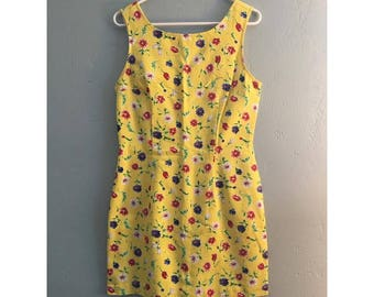 90's Yellow Floral Textured Dress