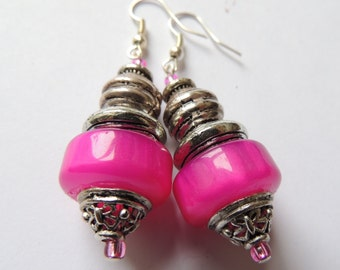 Shocking Pink - chunky drop earring