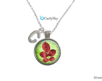 Initial Red Leaf Necklace Green Pendant, Red and green leaf jewelry necklace Red leaf pendant Green and red initial necklace tree pendant