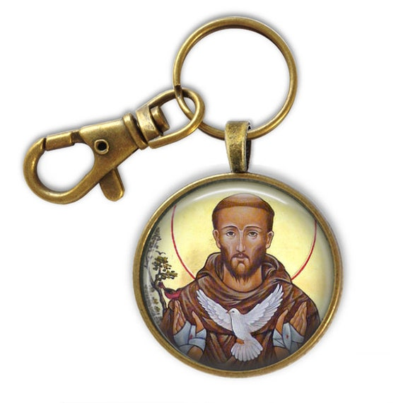 Saint Francis of Assisi Keychain - Catholic key chain -Patron Saint - St Francis of Assisi Icon Key chain