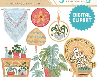 JUNGALOW Digital Clipart Instant Download Illustration Collage Ephemera Commercial Modern Boho Decor Floral Home Furniture Bohemian Art