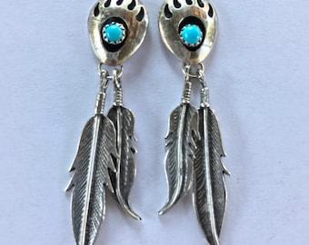 Vintage Sterling Silver Turquoise Navajo Bear Paw Feather Dangle Pierced Earrings