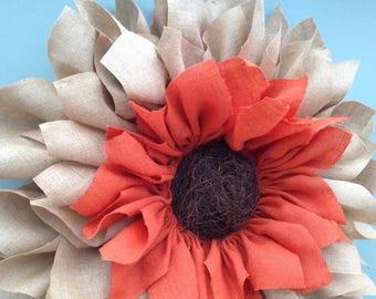 Extra large 28inch orange/natural hessian sunflower