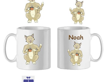 Cat mug personalized with a name example Noah steaming cup