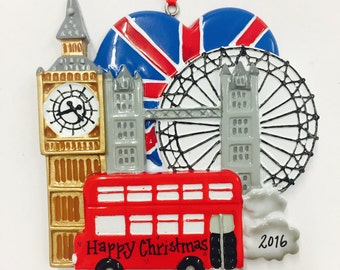 London Personalized Christmas Ornament / London Ornament / London Souvenir / Christmas Ornament / Custom Names or Message