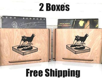 Vinyl Record Storage Crates  Great for 7 inch records and 45s  Vintage Look and Eco Friendly Price Includes Two Boxes and Free Shipping