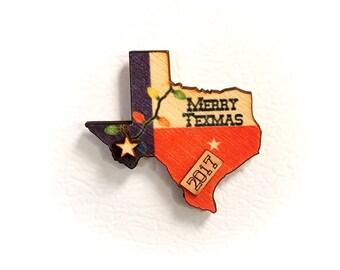 Texas Lights 2017 Wooden Refrigerator Magnet