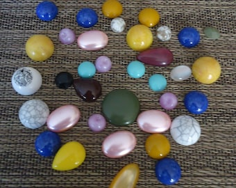 Lot of Mixed Size, Color and Shape Lucite/Acrylic Flat Back Cabachons, Jewelry Component, Altered Art Supply, Crafting Supply, 2 Oz.