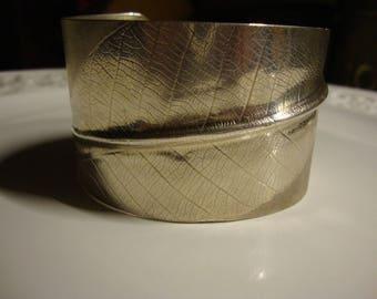 Handmade 925 Sterling Silver Skelton Leaf Cuff Bangle