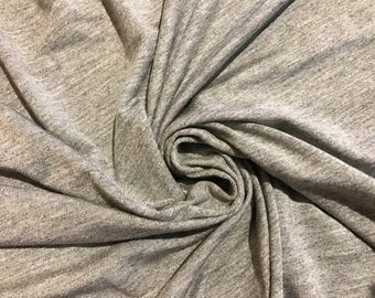 Bamboo Spandex Jersey Knit By the Yard - Heather Grey 4 Way Stretch.